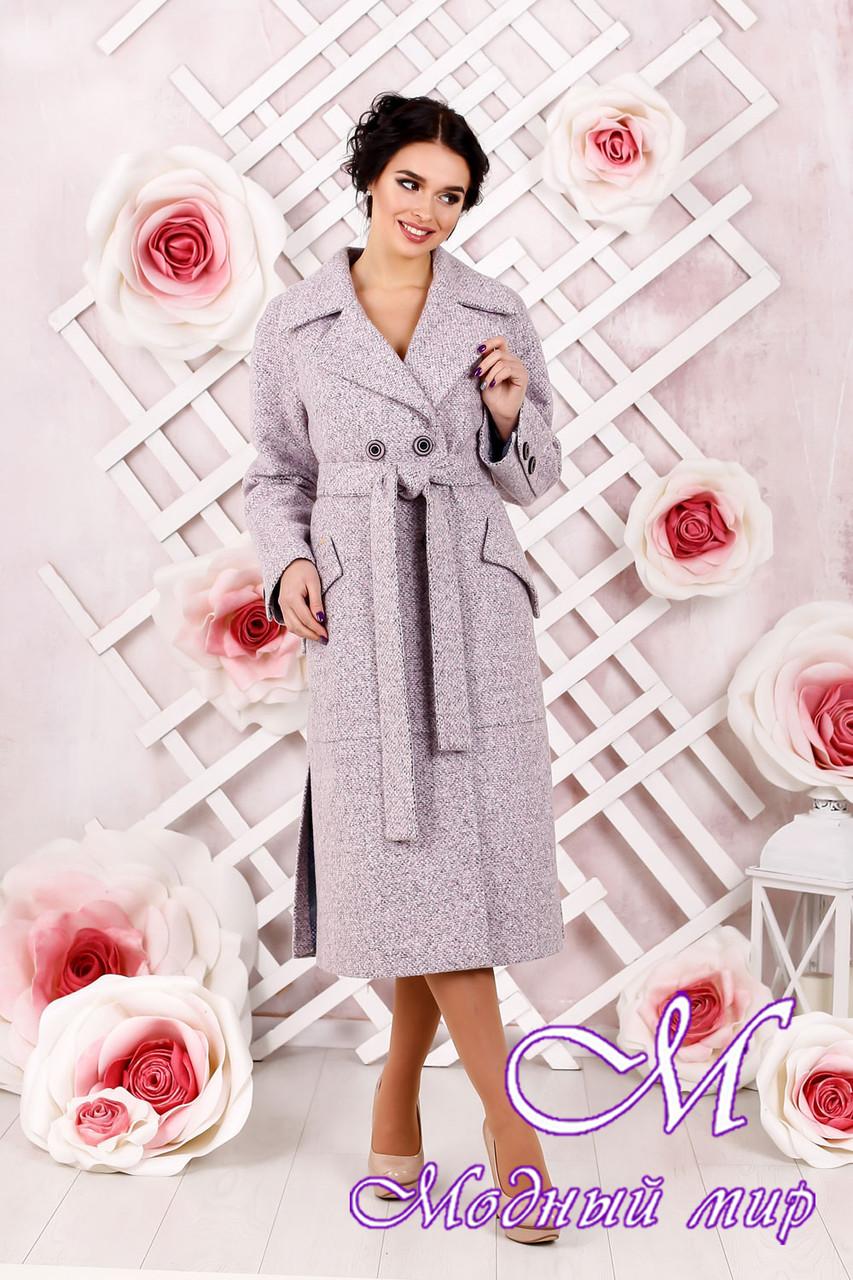 Классическое женское пальто розового цвета  батал (р. 44-54) арт. 983 Тон 4