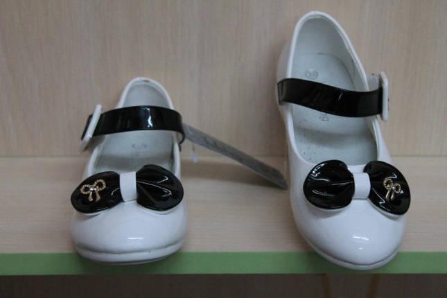 Белые туфли на девочку с черным бантиком тм KLF р.32, фото 2
