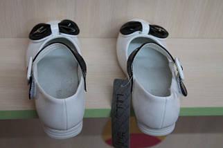 Белые туфли на девочку с черным бантиком тм KLF р.32, фото 3