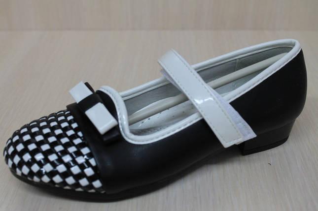 Подростковые черные туфли на девочку узор шахматы тм KLF р.31, фото 2