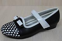 Подростковые черные туфли на девочку узор шахматы тм KLF р.31,33