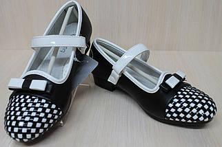 Подростковые черные туфли на девочку узор шахматы тм KLF р.31, фото 3
