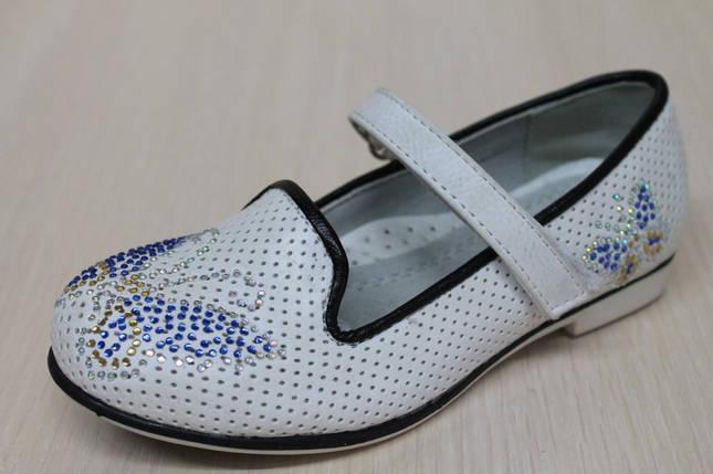 Белые туфли на девочку рисунок стразы тм KLF р.27, фото 2