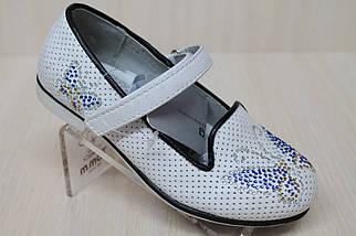 Белые туфли на девочку рисунок стразы тм KLF р.27, фото 3