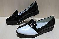 Туфли лоферы на девочку лаковые вставки черно - белые тм Тom.m р.31,36