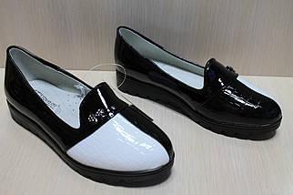 Туфли лоферы на девочку лаковые вставки черно - белые тм Тom.m р.31,36, фото 2