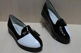 Туфли лоферы на девочку лаковые вставки черно - белые тм Тom.m р.31,36, фото 3