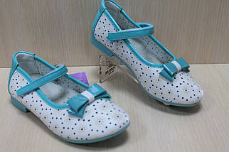 Белые туфли на девочку с лаковыми вставками мята тм Tom.m р.27, фото 2
