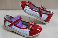 Белые с красным туфли на девочку с лаковыми вставками тм Tom.m р.26