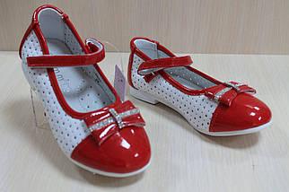 Белые с красным туфли на девочку с лаковыми вставками тм Tom.m р.26, фото 2
