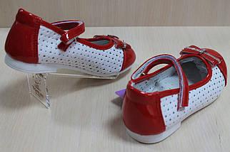 Белые с красным туфли на девочку с лаковыми вставками тм Tom.m р.26, фото 3