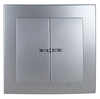 NILSON TOURAN Металлик Выключатель двухклавишный с подсветкой серебро
