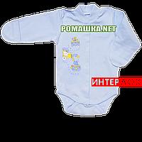 Детский боди с длинным рукавом р. 56 демисезонный ткань ИНТЕРЛОК 100% хлопок ТМ Алекс 3149 Голубой1