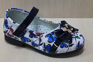 Цветные туфли на девочку с синим бантиком рисунок бабочки тм Y.Top р.22, фото 2