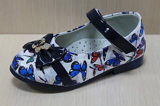 Цветные туфли на девочку с синим бантиком рисунок бабочки тм Y.Top р.22, фото 3