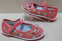 Коралловые лакированные туфли на девочку с цветочным рисунком и бантиком тм Y.Top р.21,22,24