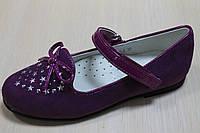 Лиловые замшевые туфли с украшением бантик для девочки тм BIKI р. 27,29