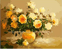"""Картина по номерам без упаковки """"Нежно-желтые розы"""", 40х50см (КНО278)"""