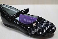 Черные лаковые туфли на девочку рисунок из страз тм Том.м р. 33,35,36