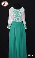 Женское вышитое платье в пол Бриз