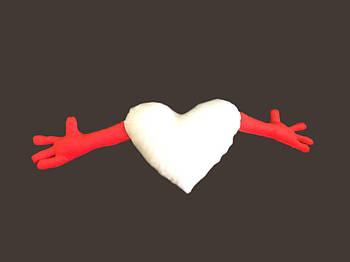 Подушка плюшевая сердце обнимашка для сублимации цвет красный