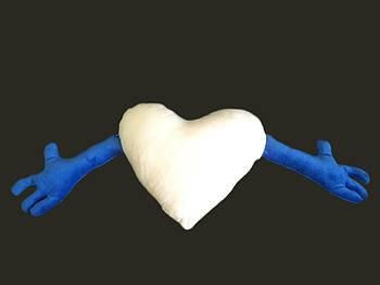Подушка плюшевая сердце обнимашка для сублимации цвет синий