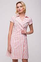Летнее платье в полоску из льна Розовое