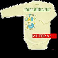 Детский боди с длинным рукавом р. 68 демисезонный ткань ИНТЕРЛОК 100% хлопок ТМ Алекс 3149 Желтый