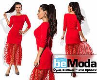Шикарное женское платье приталенного кроя с сеткой в горох по краю низа красное