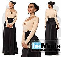 Роскошный женский костюм из блузы  с декольте и длинной клешной юбки бежевый