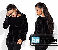 Эффектная женская блуза свободного кроя с открытыми плечами черная