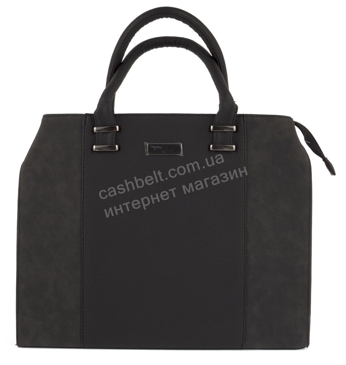 c0aa8fa59450 Большая каркасная стильная прочная женская сумка art.040 темно серая ...