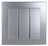 NILSON TOURAN Металлик Выключатель трехклавишный серебро