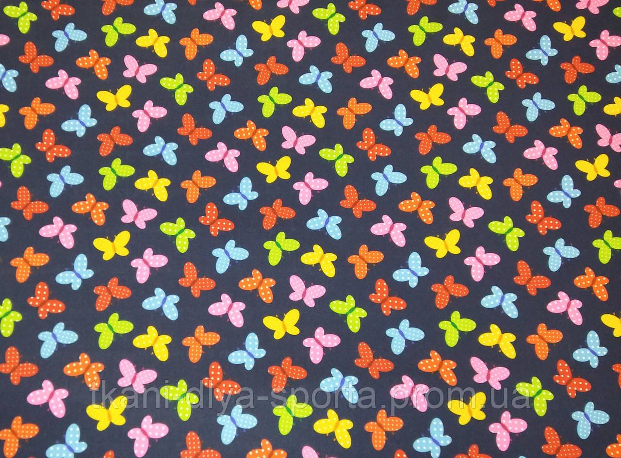 Бифлекс цветные бабочки на темно-синем фоне