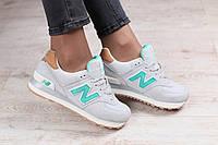 Женские кроссовки, замшевые, серого цвета, с зелеными вставками, на белой подошве, на шнурках