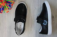 Cлипоны на мальчика чёрного цвета детские туфли на липучке тм Том.м р.31,32,36