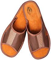 """Тапочки комнатные мужские кожаные """"Ромб"""" коричневые"""