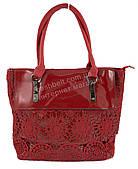 Удобная оригинальная стильная прочная женская сумка с лаковой лицевой вставкой art. 694 красный