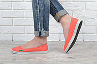 Кеды слипоны женские Lacoste текстильные оранжевые, Оранжевый, 40