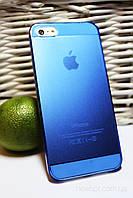 Чехол (ультратонкая защитная крышка 0,3 мм) для IPhone 5, 5S синий пластик, фото 1