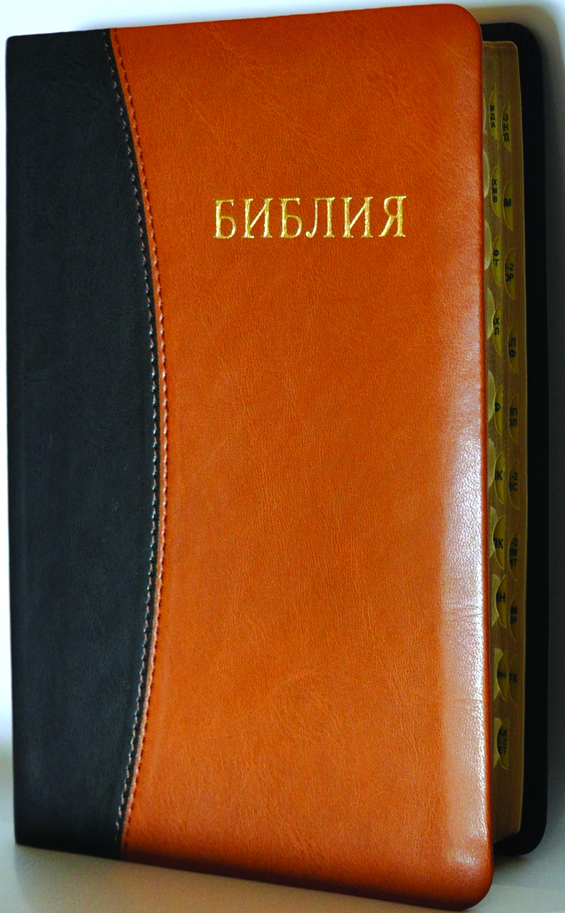Біблія, 14х19,5 див., чорна з коричневим вставкою