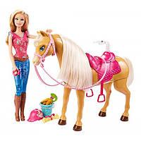 Barbie Барби с лошадью Уход за любимцами Feed & Cuddle Tawny Horse and Doll Playset