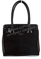 Удобная оригинальная стильная прочная женская сумка с замшевой лицевой вставкой SULIYA art. 63639 черная