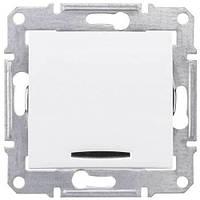 Одноклавишный выключатель с индикацией 10A серии Sedna. Цвет Белый SDN0400321