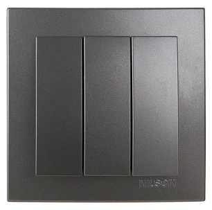 NILSON TOURAN Металлик Выключатель трехклавишный антрацит