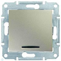 Одноклавишный выключатель проходной (переключатель) с индикацией 10A серии Sedna. Цвет Титан SDN0401168