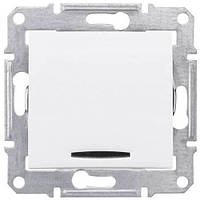Одноклавишный выключатель проходной (переключатель) с индикацией 10A серии Sedna. Цвет Белый SDN0401121