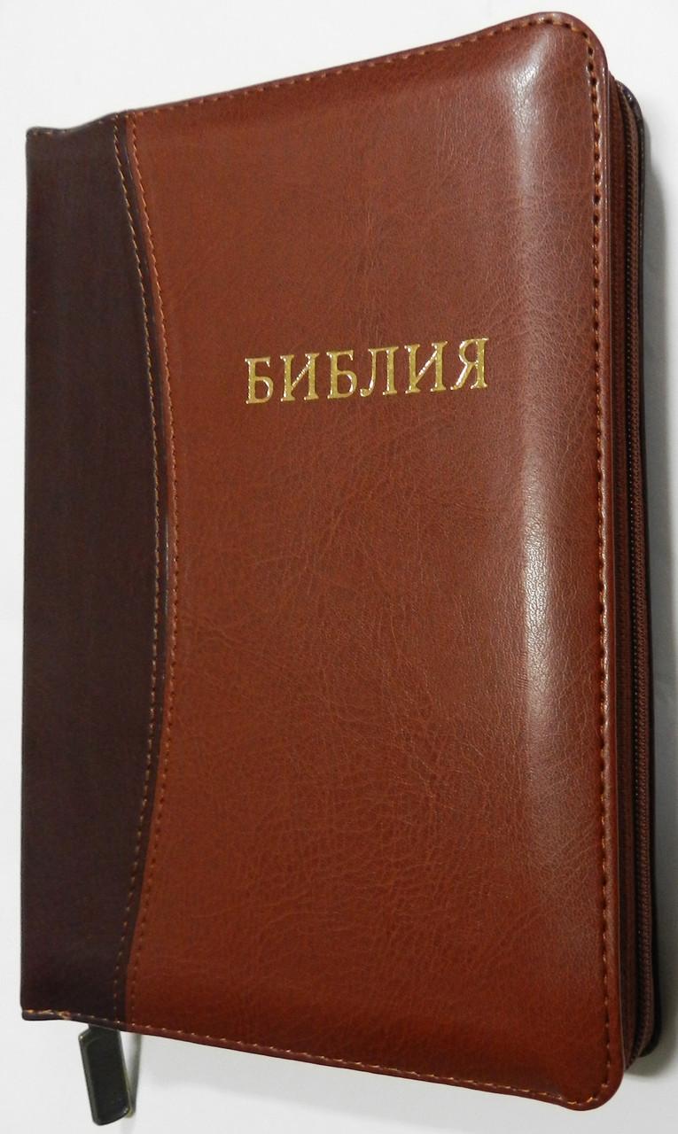 Библия, 14х19 см., коричневая с темной вставкой