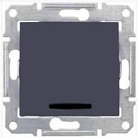 Одноклавишный выключатель проходной (переключатель) с индикацией 10A серии Sedna. Цвет Графит SDN0401170