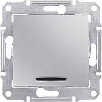 Одноклавишный перекрестный переключатель с подсветкой 10A серии Sedna. Цвет Алюминий SDN0501160